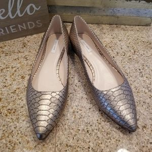 Cole Haan Gold Reptile Skin Flats